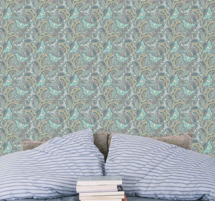 TENSTICKERS. 緑と青のトーンの蝶の寝室の壁紙. この落ち着いた豪華な緑と青のトーンの蝶の壁紙をもう一度見てください。あなたはなぜあなたがあなたの家のためにそれを手に入れるべきかを知っているでしょう。