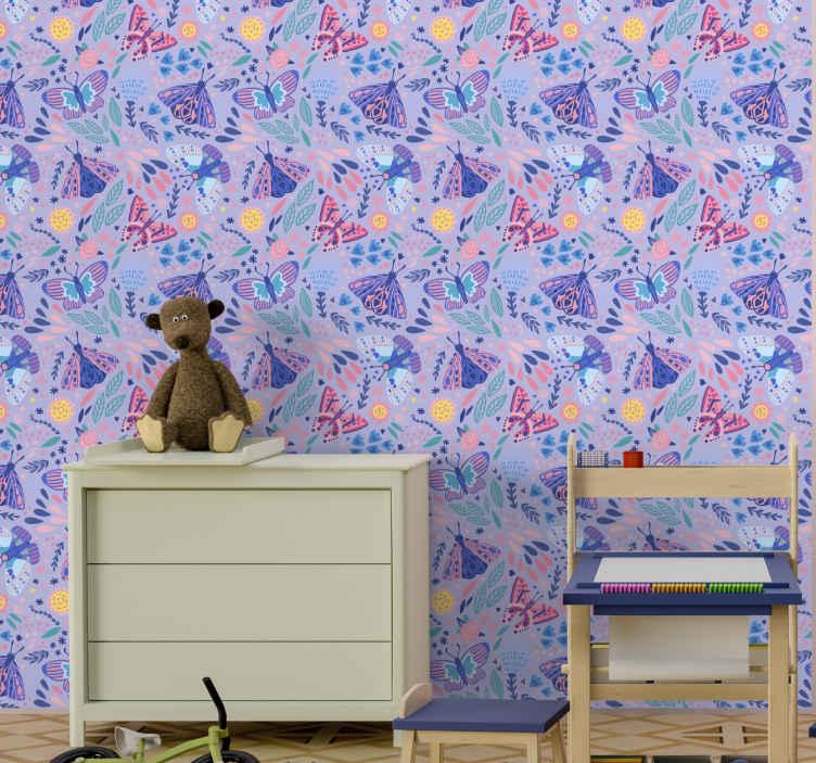 TENSTICKERS. ピンクの色調の蝶の壁紙寝室の壁紙. 今日この美しい蝶の子供たちの壁紙であなたの子供たちに今日より良い遊び環境を与えてください!今すぐあなたの家を簡単に飾ってください!