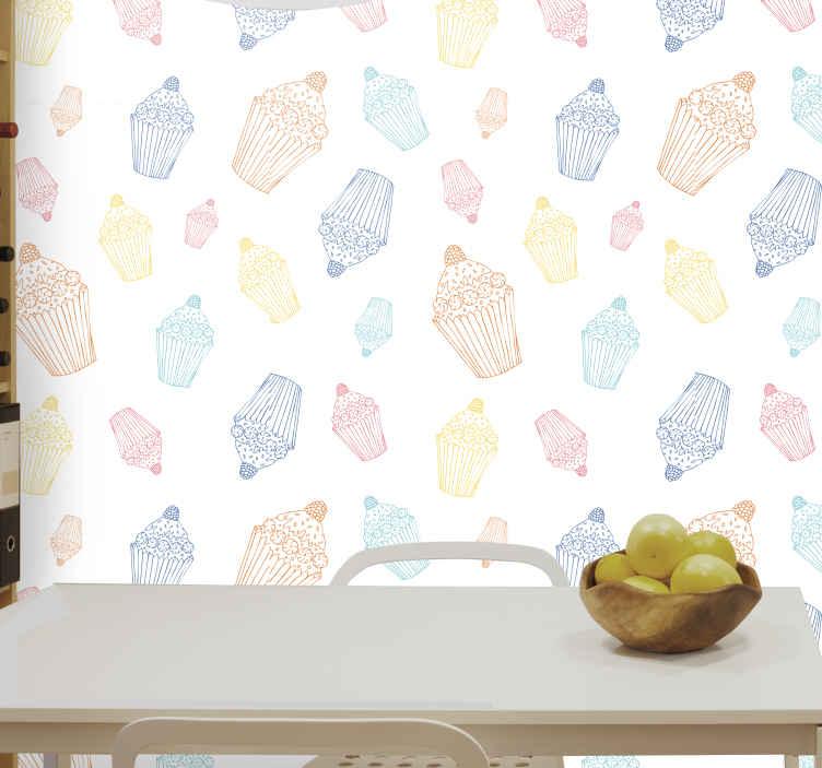 TenVinilo. Papel pared cocina cupcakes tonos pastel. ¡Decora esas viejas y aburridas paredes de la cocina con un hermoso diseño de cupcakes! Papel pared cocina de tonos pastel ¡Envío exprés!