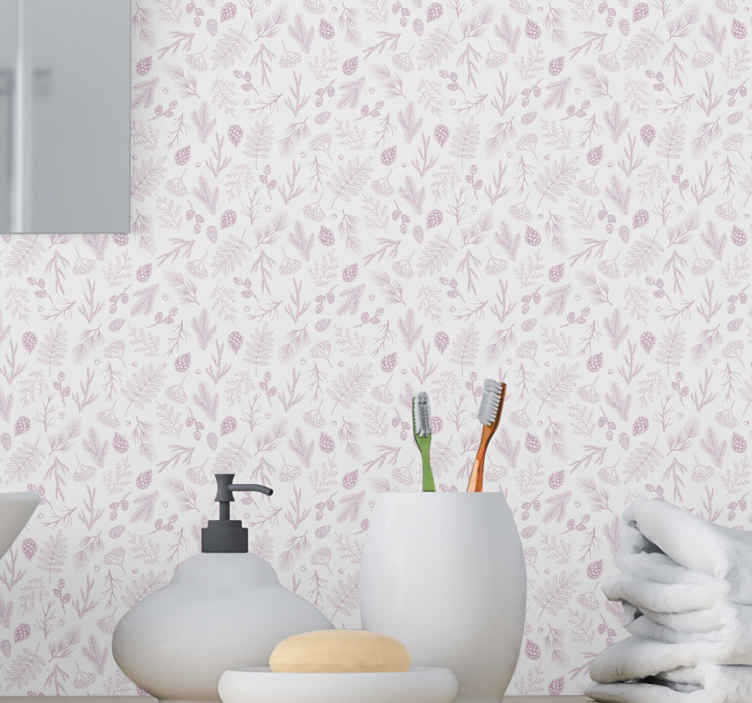 TenStickers. Carta da parati bagno Sfondo bianco con pino rosa. Sfondo bianco con carta da parati toilette pino rosa. Può essere decorato anche su altri spazi della casa come camera da letto, ecc.