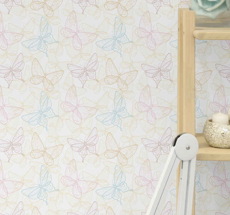 TenStickers. Bathroom wallpaper multicolored butterfly. Patterned multicolored butterfly wallpaper to decorate a bedroom, hallway, bathroom, toilet and any other space in the home.