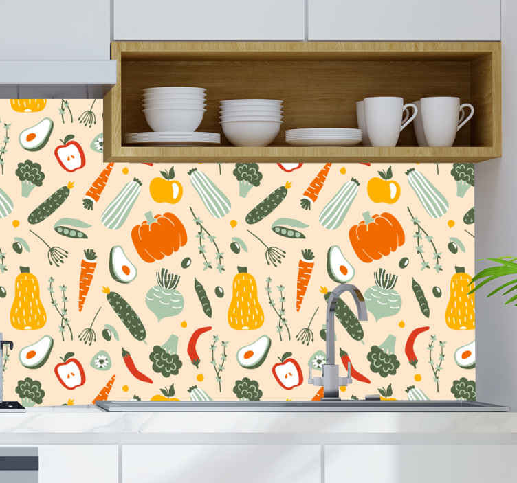 TENSTICKERS. キッチン壁紙別の食べ物. さまざまな食用野菜のイラストでパターン化されたカラフルな装飾的なキッチンの壁紙。それはオリジナルで、外的影響やしわの証拠です。
