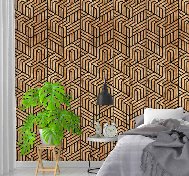 TenStickers. Wooden geometry pattern wallpaper. This amazing modern living room wallpaper consists of geometrical shaped that creates an interesting optical illusion will be perfect four your home.