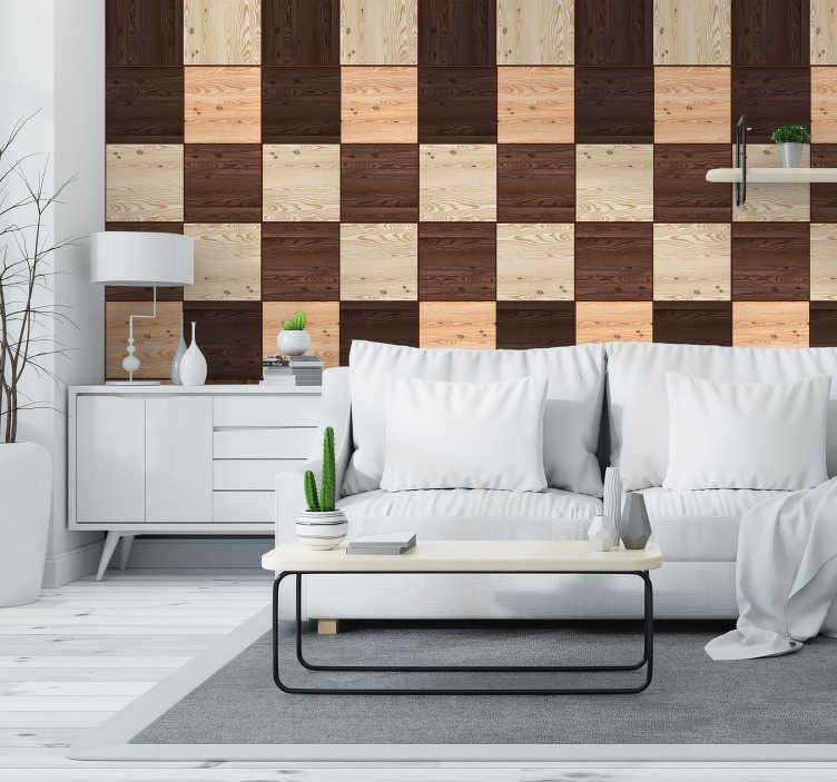 TenVinilo. Papel pintado imitación bloques de madera oscura. Papel pintado ideal para salón para comedor dormitorio o cualquier estancia que desees. Compra tu papel pintado, personaliza tu hogar.