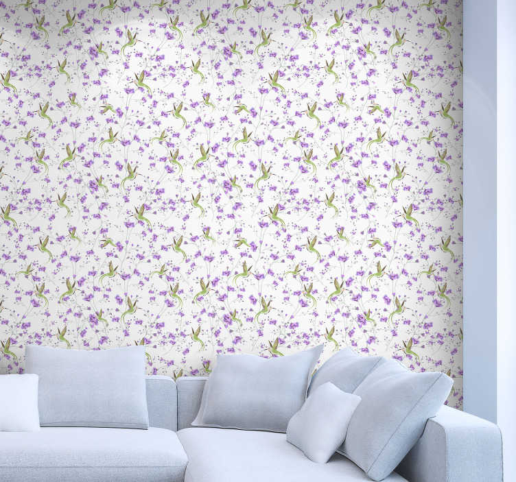 TenStickers. Colourful Hummingbird Grey Bird Wallpaper. Make your walls feel like they're flying with this awesome colourful hummingbird wallpaper. Free worldwide delivery available!