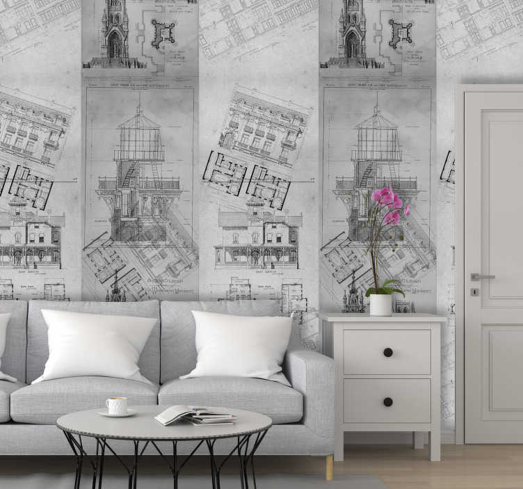 TenStickers. Wallpaper Architectural gems. Change your boring walls by using those modern living room wallpaper. They will make you fall in love with the place you live.