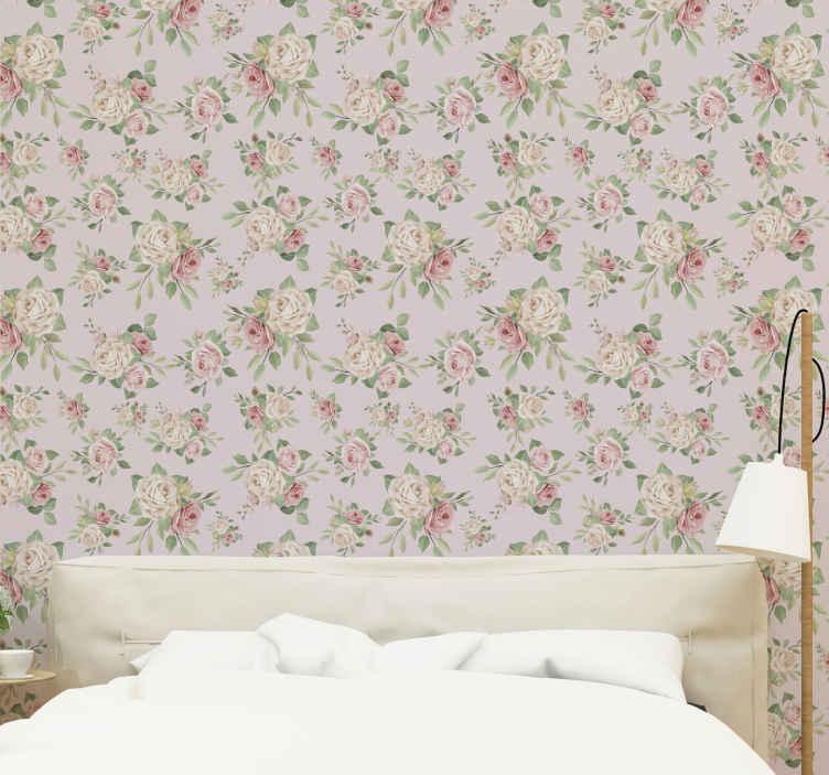 TenVinilo. Papel pintado de flores peonías tonos grises. Papel pintado de flores con la decoración de muchas peonías rosas sobre fondo gris, ideal para decorar las paredes de tu dormitorio.