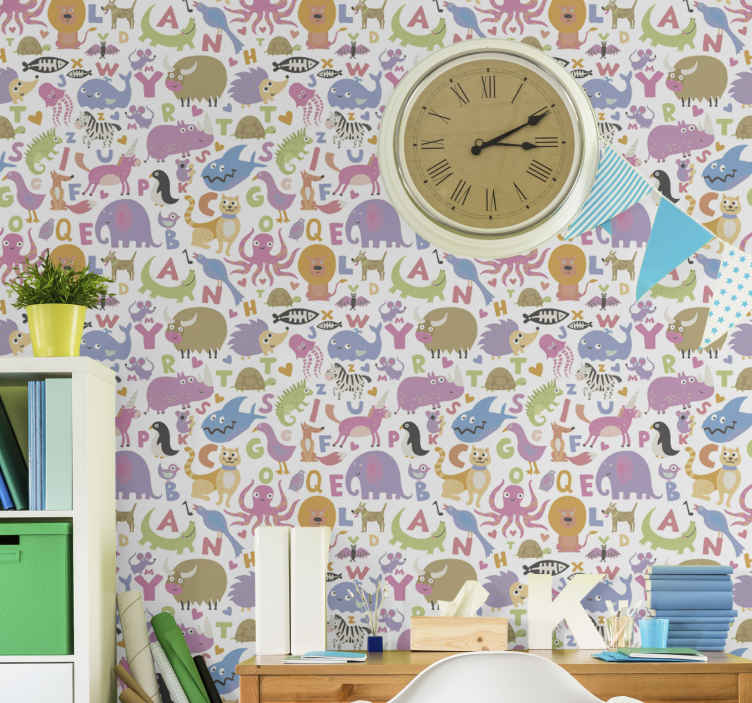 TenStickers. Colourfull animal Alphabet wallpaper Kids Wallpaper. This animal wallpaper design will really make your day so much better when you receive it and notice all its great details! Buy it today!