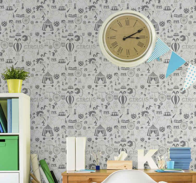 TenVinilo. Papel pared infantil circo nórdico. ¡Este papel pared infantil nórdico se vería increíble en las muchas paredes de su hogar! ¡Se puede aplicar y quitar fácilmente sin daños!