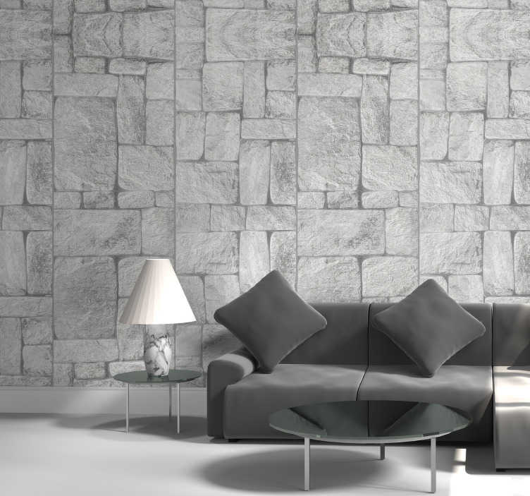 TenStickers. Stone effect grey stone Wallpaper. A beautiful stone effect wallpaper which you can apply onto your walls at home. Our wallpapers are easy to apply, with instructions included.