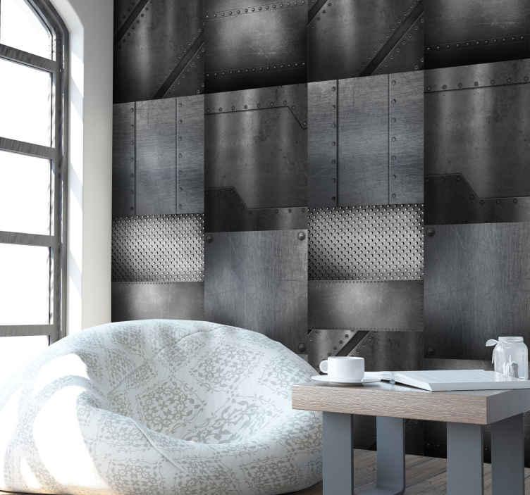 """TenStickers. Tapisserie moderne Mur en laiton. Ce papier peint gris blanc effet """"mur en laiton"""" fera parfaitement illusion et donnera à vos murs un style moderne très original."""