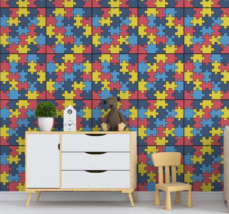 TenStickers. 彩虹拼图图案壁纸. 这款超酷的彩虹方形图案壁纸可为您的孩子的房间多一点生活。全球免费送货!