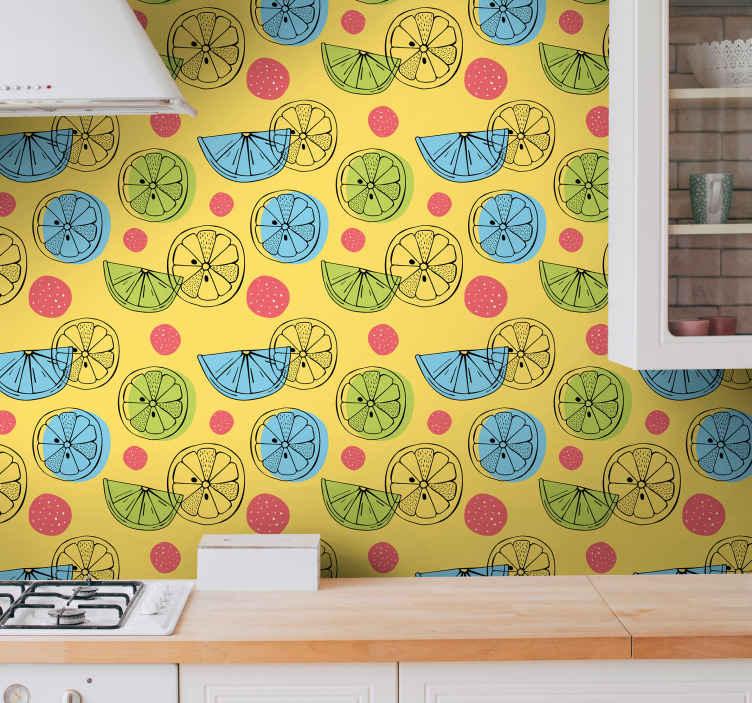 TenStickers. papel parede ornamental Frutas cítricas manchadas. Papel de parede cítrico que apresenta um incrível padrão de frutas cítricas cortadas ao meio com manchas coloridas ao lado. Alta qualidade.