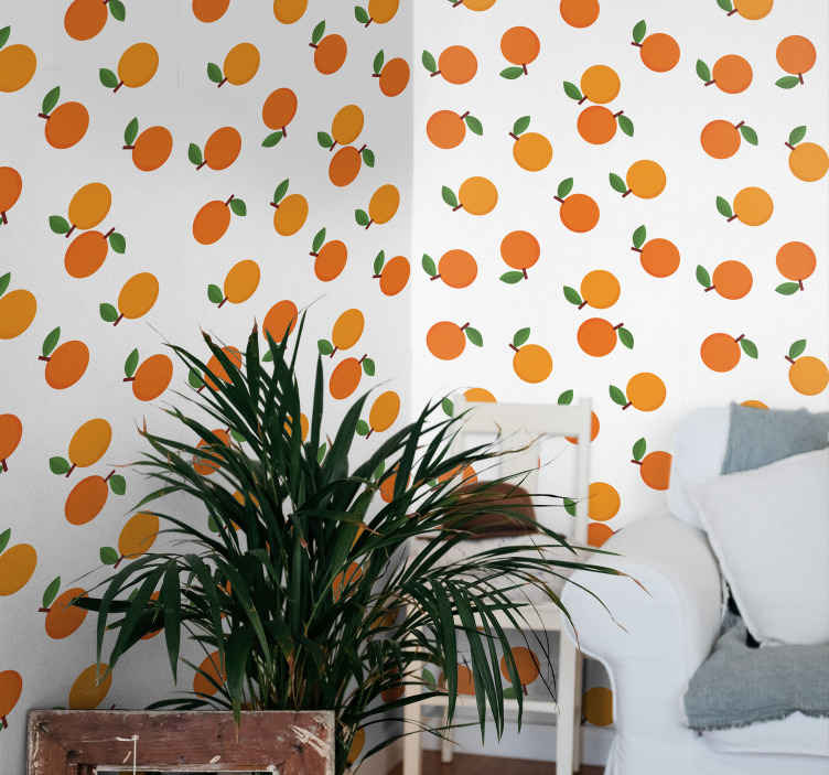 TenStickers. Cartoon Oranges Ornamental Wallpaper. Citrus wallpaper which features a stunning pattern of oranges with leaves on a white background. Sign up for 10% off now.