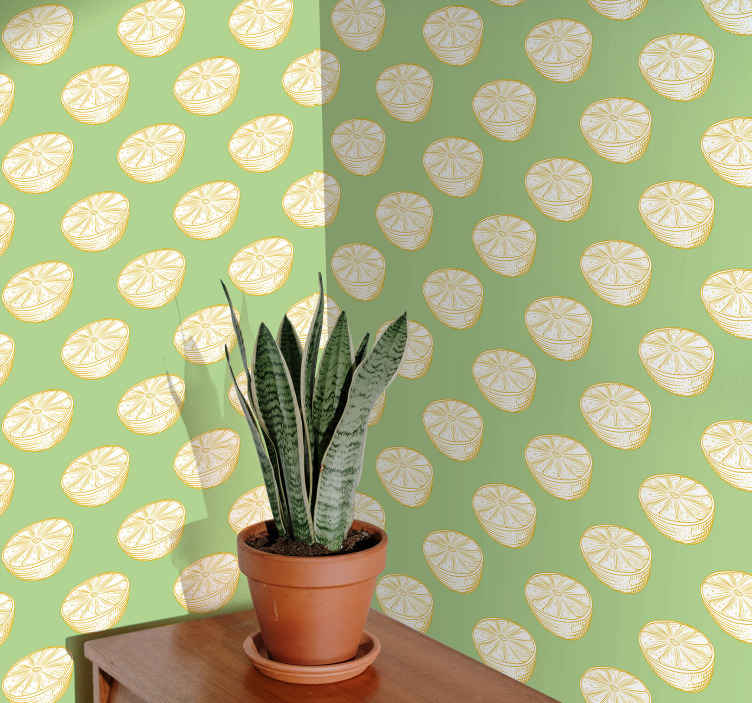 TenStickers. Hand Drawn Yellow and Green Lemon Wallpaper. Lemon wallpaper which  features a pattern of hand drawn lemons on a green background. Custom made to order. Worldwide delivery.