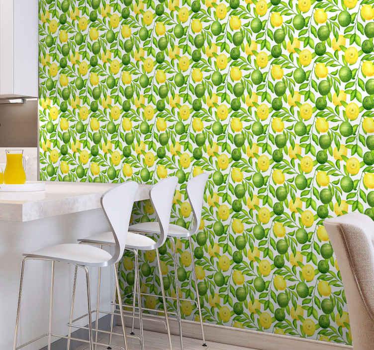 TenStickers. Papier peint cuisine Citrons et limes. Papier peint de cuisine aux citrons et limes en vert et jaune pour remplir de joie les murs de votre cuisine, de votre salle à manger