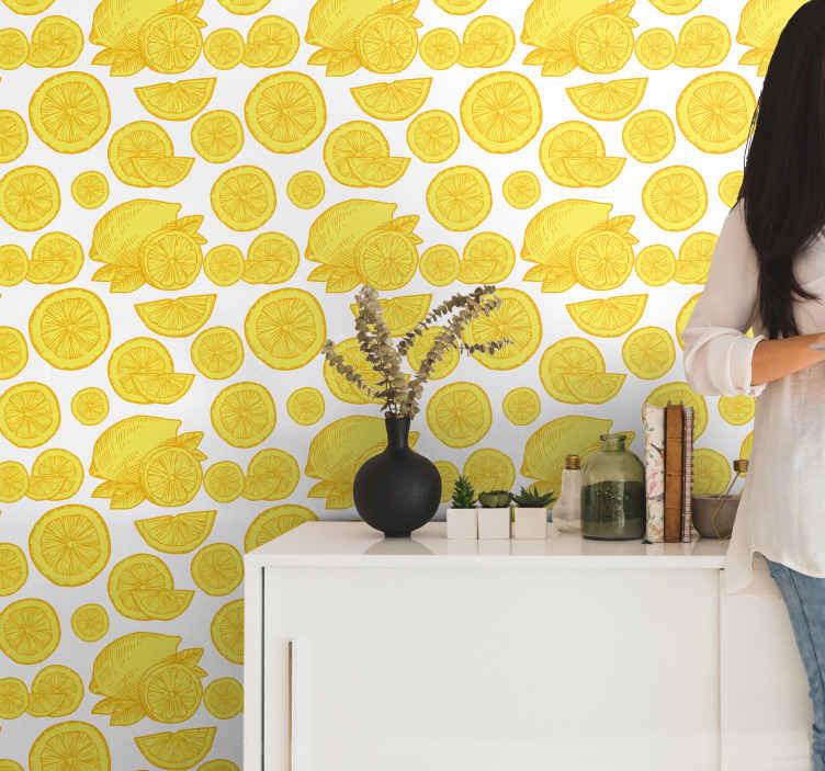 TenStickers. Carta da parati per cucina Schizzo di arancia e limone. Carta da parati agrumi con fantasia arance e limoni su fondo bianco, ideale per decorare la tua zona cucina con questo fantastico disegno.