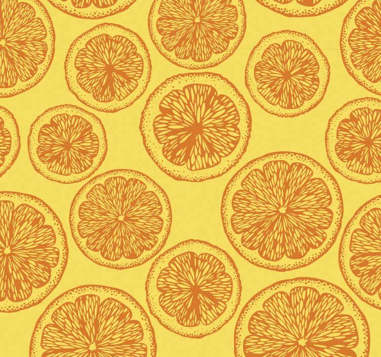 TenStickers. Papier peint cuisine sticker de dessin à la main orange. Papier peint à motifs orange avec fond jaune et tranches d'orange, idéal pour que vous remplissiez de couleur et de joie l'ambiance de votre cuisine.