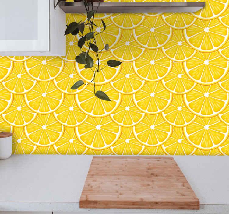 TenStickers. papel de parede sala de jantar Padrão laranja. Papel de parede colorido com desenho de laranjas, que encherá sua cozinha, sala de jantar ou qualquer espaço em reforma com um produtocolorido e alegre.