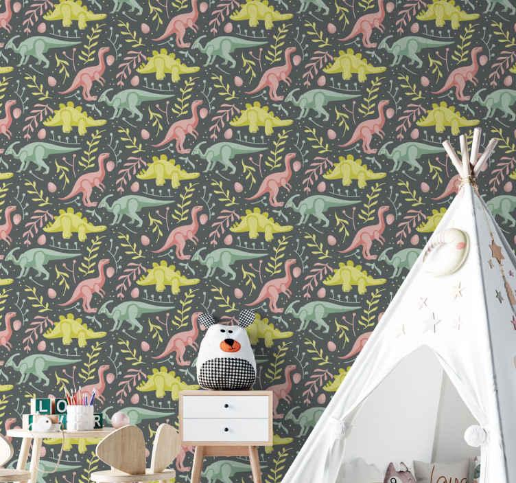 TenVinilo. Papel pared dinosaurios pastel. Papel pared dinosaurios verde y gris moderno para que decores la habitación de tu hijo con un diseño exclusivo ¡Envío exprés!