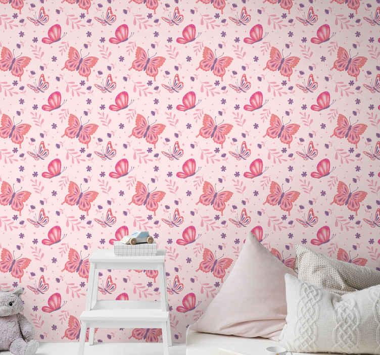 TenStickers. 粉色背景卧室壁纸. 我们原本宁静且友好的粉红色蝴蝶图案墙纸将是装饰女孩卧室和其他空间的绝佳选择。