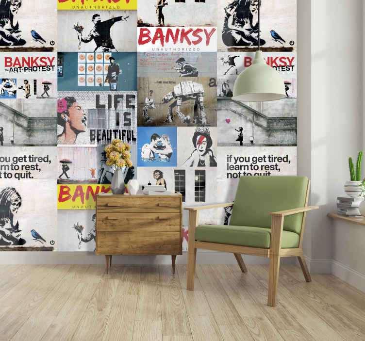 TenStickers. Banksy collage Abstract Wallpaper. Have your own pieces of Banksy art in your home with this art wallpaper. This design features all of this well known pieces!