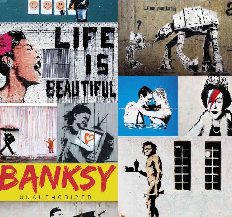 """TenStickers. papel parede artistíco abstracto Bansky. Bansky disse que a """" arte deve confortar os perturbados e perturbar os confortáveis"""", o nosso papel de parede irá sem dúvida confortar toda a gente!"""