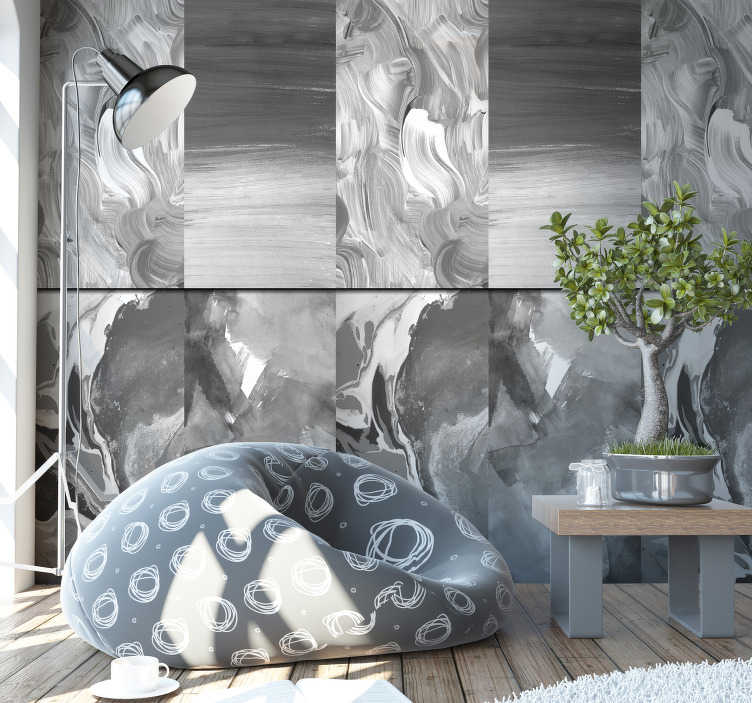 TenStickers. Wallpaper cloudy afternoon modern. A modern wallpaper that comes in a stunning design of brushstrokes will be a perfect decoration for your bedroom or living room. Buy it now!