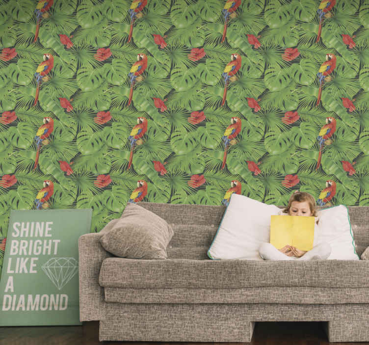 TenStickers. Colorful parrots on green leafes Cool animal wallpaper. Colorful parrots on green leaves wallpaper. Create a natural looking atmosphere with birds perched on leaves with this wallpaper.