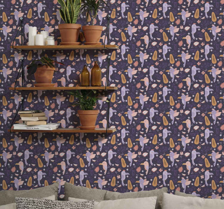 TenStickers. Purple Tropical Parrot wallpaper. Parrot wallpaper which features a lovely pattern of cartoon purple parrots surrounded by tropical fruits and flowers. High quality.