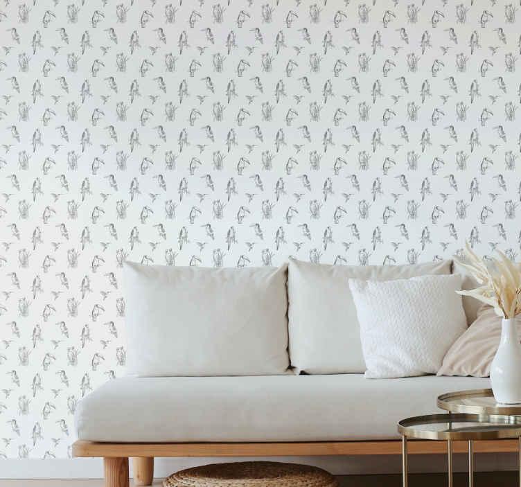 TenStickers. papel de parede animais Desenho de pássaro desenhado. Papel de parede de papagaio que apresenta um adorável padrão de pássaros desenhados à mão, incluindo papagaios, beija-flores e tucanos. Anti-bolha.