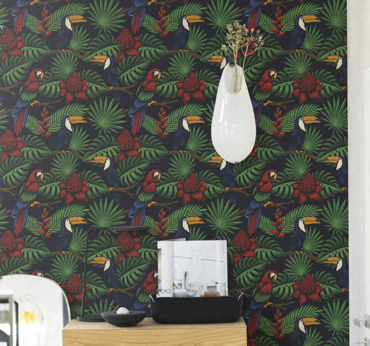 TenStickers. Dark Jungle Plants and Parrots wallpaper. Parrot wallpaper which  features a pattern of parrots surrounded by dark jungle leaves and flowers. Sign up for 10% off now.