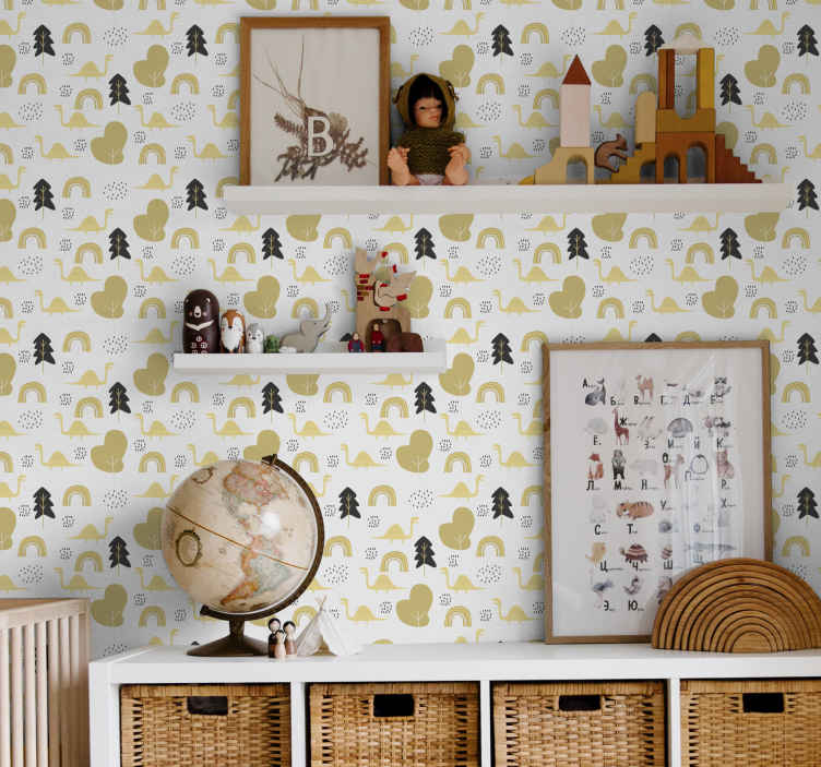 TenStickers. Yellow dinosaurs nordic style Kids Wallpaper. Beautiful Nordic style kids wallpaper.  The white background wallpaper is pattern with various dinosaurs illustrated on a forest landscape.
