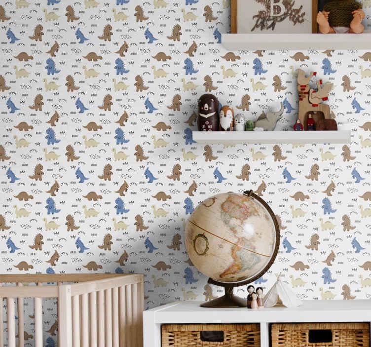 TenStickers. 快乐的蓝色和棕色恐龙儿童壁纸. 我们的儿童房壁纸在您的儿童房中看起来很完美。这是一个简单而有趣的设计!