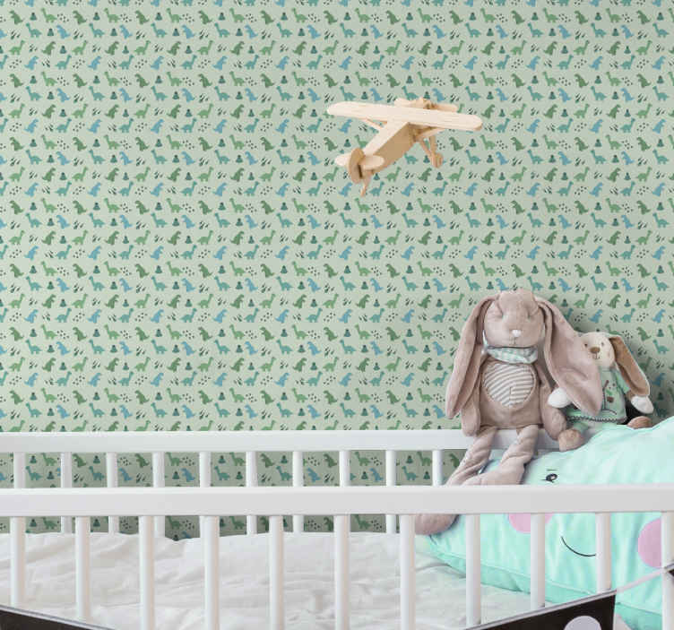 TenStickers. Carta da parati cameretta Dinosauri verdi. La nostra carta da parati per camera da letto di lusso rappresenta un motivo di dinosauri verdi che sarà bellissimo nella camera dei tuoi bambini.
