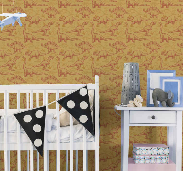 TenStickers. Dinosaurs figuers orange background Kids Wallpaper. our wallpaper for bedroom depicts a dinosaurs pattern on an orange background. You can count on the high quality materials we use!