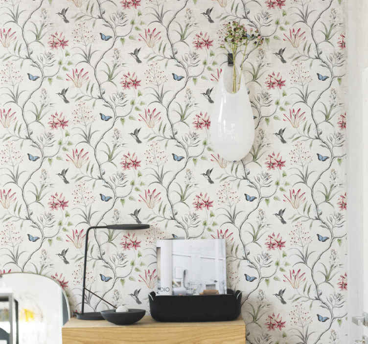 TenStickers. Bird & butterfly flower branch  Cool animal wallpaper. Pretty looking patterned wallpaper having illustrations of trees with birds and butterflies hovering around. Made with quality material and durable.