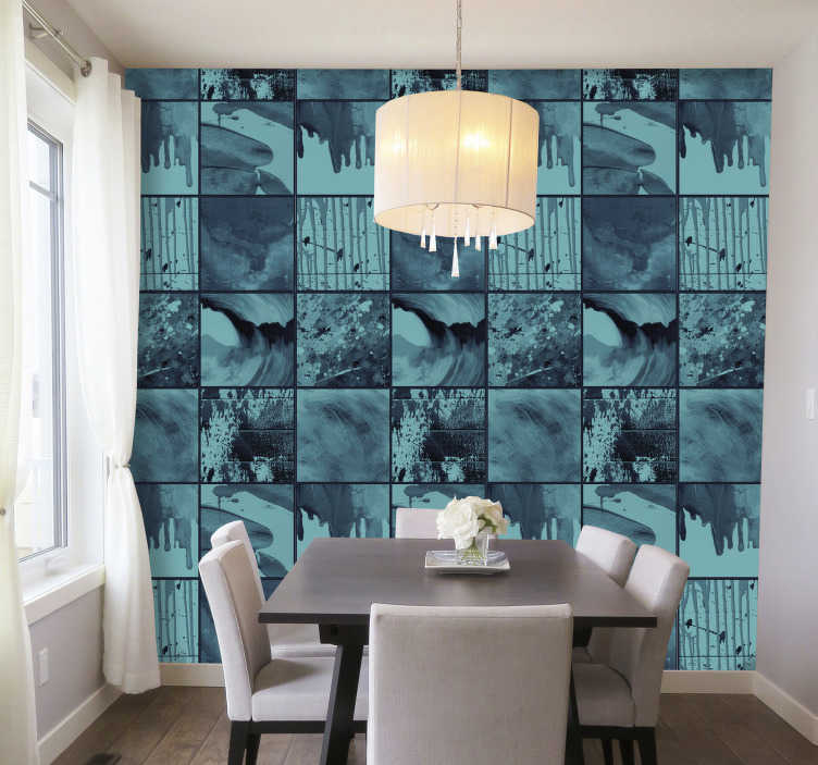 TenStickers. Wallpaper Behind the wall of rain abstract. Amazing and abstract wallpaper with the design that everyone can interpret in a different way. Is that a rain? A wave? Order now to find out!