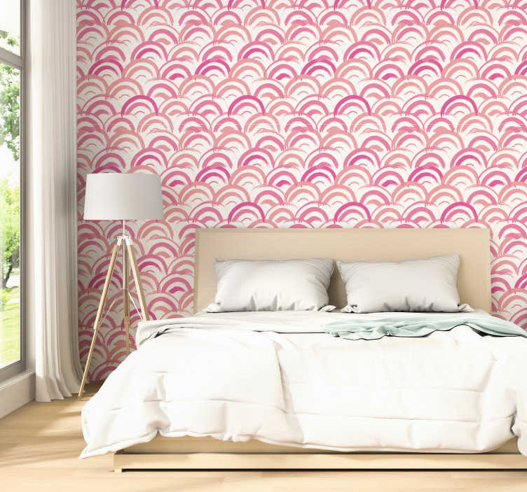 TenStickers. Pink meadow Moon Wallpaper. Give life and color to your walls with this magnificent patterned wallpaper made with geometric shapes with a pattern in shades of pink.