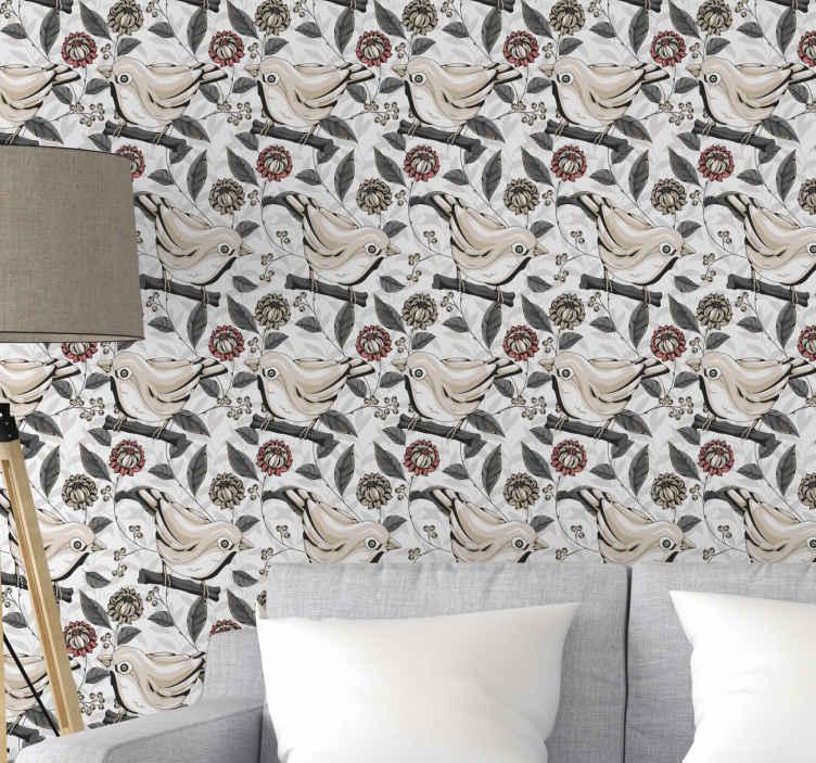 TenStickers. 浅色背景与花和鸟的大自然壁纸. 乙烯基壁纸,浅色背景和七彩花朵树枝与鸟栖息。它由优质材料制成,经久耐用。