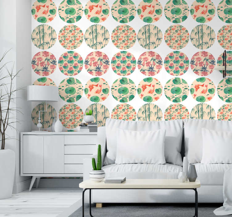 TenStickers. Watercolor meadow Moon Wallpaper. Bring a little bit of nature to your walls with this nature wallpaper with a circle pattern of different images of Asian nature in watercolor style.