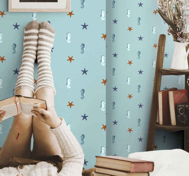 TenStickers. Papier peint chambre Style marin. Beau papier peint de chambre de style marin avec des formes d'océan, sur fond bleu. Il est parfait pour n'importe quelle pièce, adultes ou enfants.