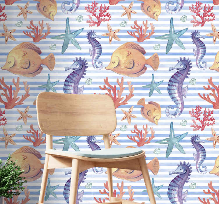 TenStickers. Sea Life Tiles Cool animal wallpaper. Room wallpaper with a design of marine elements such as snails, sea shells, seahorses and starfish, etc. with background with blue stripes.