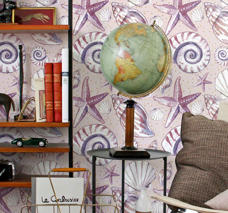 TenStickers. Papier peint salon Coquillage. Fantastique papier peint coquillage pour décorer votre chambre, salon et tout autre espace que vous souhaitez. Facile à appliquer et durable.