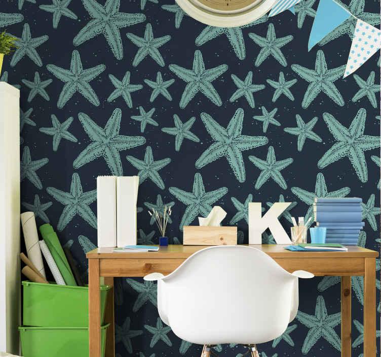 TenStickers. 海星蓝调海洋生活壁纸. 海星青石海洋生物壁纸,以水下生活的错觉来定制您的空间。情侣的图案海洋生物壁纸。