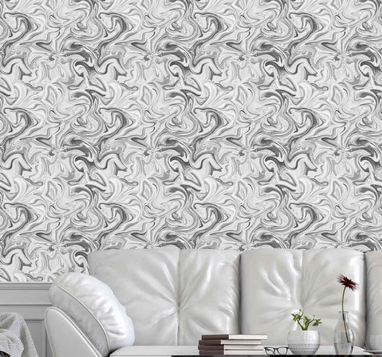 TenStickers. Papier peint chambre Marbre craquelé blanc et noir classique. Papier peint en marbre blanc et noir classique - cela peut être le papier peint de votre chambre, le papier peint de votre salle de bain, etc.