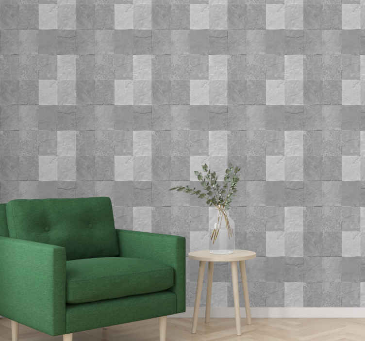 TenStickers. Stone pattern grayscale stone effect wallpaper. Beautiful patterned grayscale stone wallpaper for your wall space. Perfect for a living room, office, guest room and other spaces.