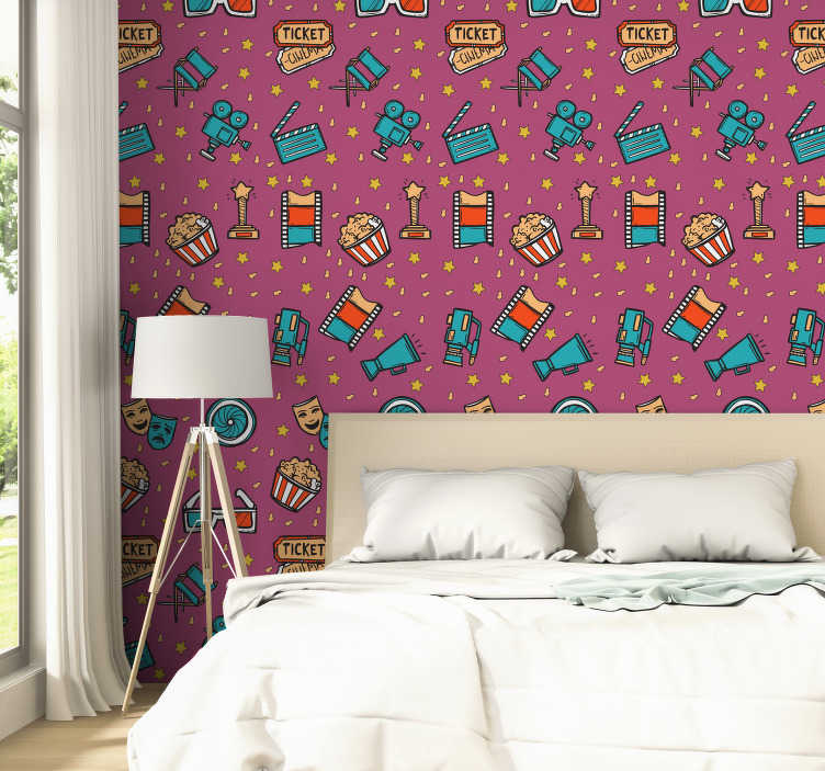 TenStickers. Movie Night - Girl Kids Wallpaper. This children's vinyl wallpaper in a pattern composed of figures alluding to the seventh art in a pop art style will be perfect in your home decor.