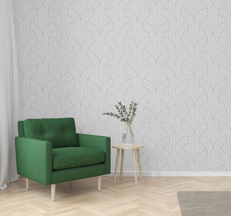 TenStickers. Modern behang Modern minimalistisch grijs behang. Dit moderne behang voegt stijl en klasse toe aan u woonkamer of slaapkamer. Mooie grijze kleur met simpele vormen erop. Bestel hem nu!