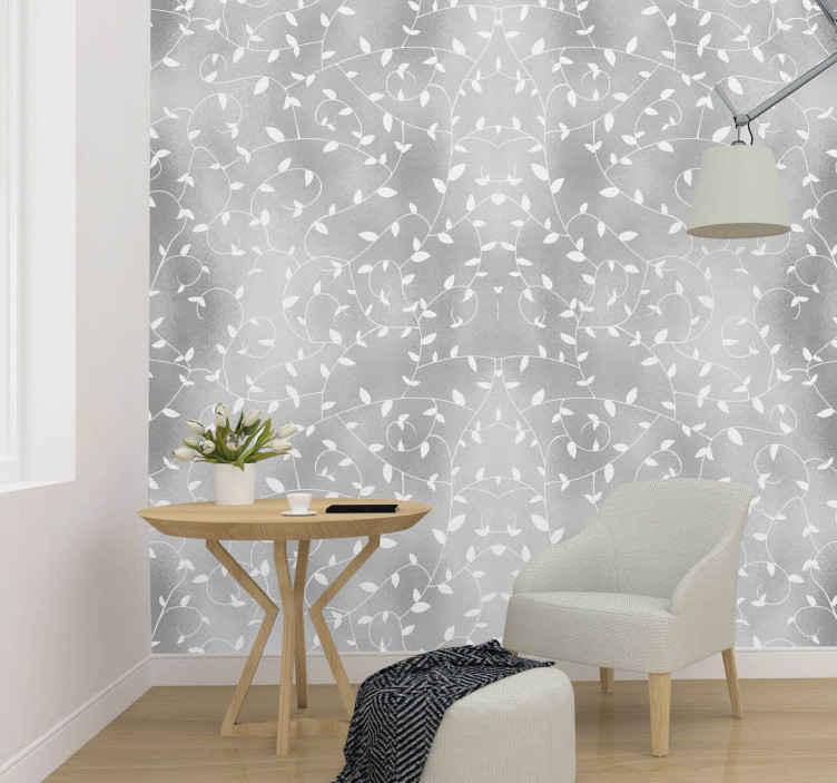 TenStickers. Natuur behang Boomtakken wit en zilver behang. Eenvoudig maar elegant modern behang met bloemenpatroon voor thuis en andere wanddecoratie in de ruimte. Wacht niet langer en bestel hem nu!